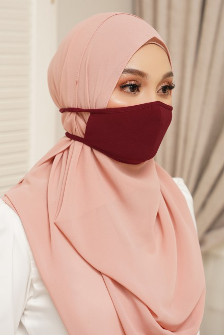 Lora Face Mask in Maroon