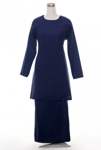 Kunyit Basic Kurung in Deep Blue