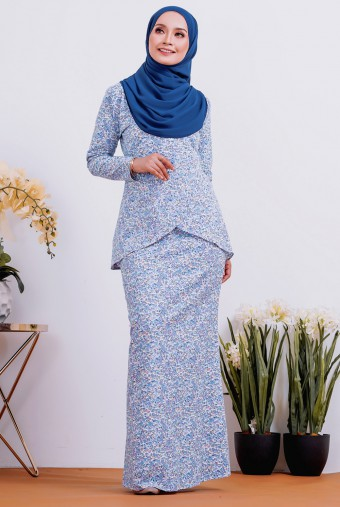 Caramello Cotton Kurung in Lavender Paint