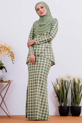 Caramello Cotton Kurung in Olive Square