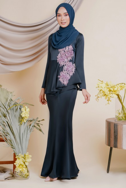 AYESHA Kurung in Navy Blue