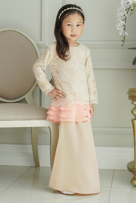 Ketumbar Kurung Girl in Cream Peach