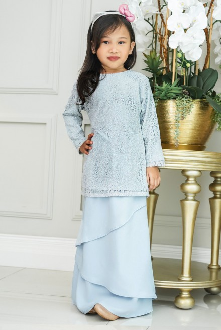 Pelaga Kurung Girl in Baby Blue