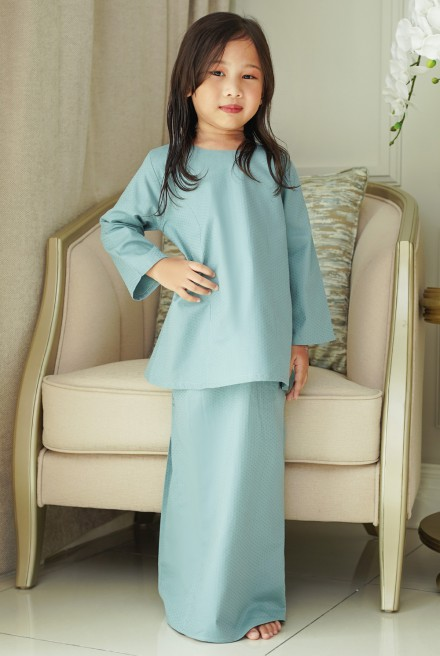 Kunyit Kurung Basic Girl in Teal Blue