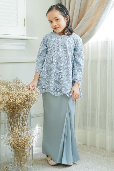 Cengkih Kurung Girl in Dusty Blue