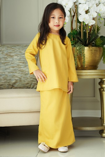 Kunyit Kurung Basic Girl in Royal Mustard