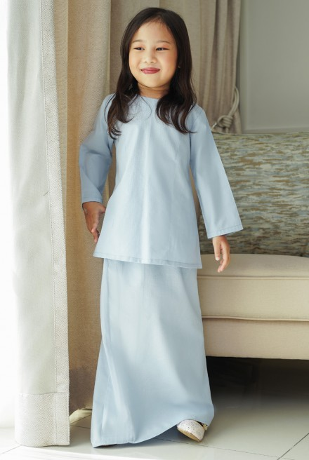 Kunyit Kurung Basic Girl in Pastel Blue