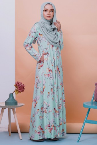 Rifna Dress in Mint Poppy