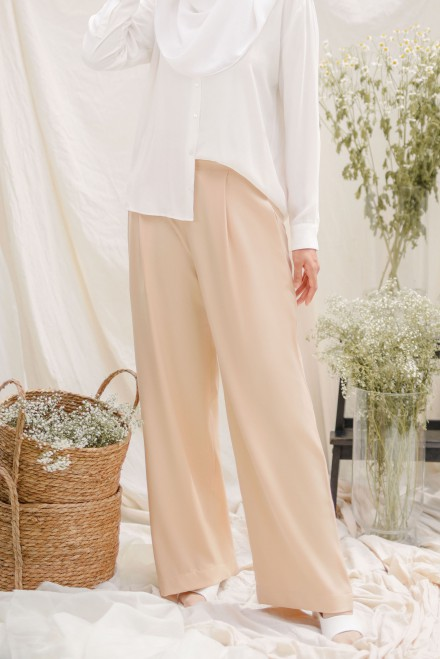 Sugar Palazzo Pants in Cream Silk