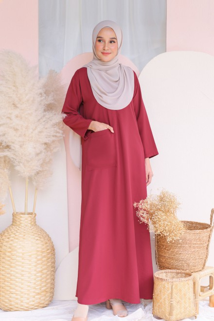 Baju Klawa Basic In Dusty Red