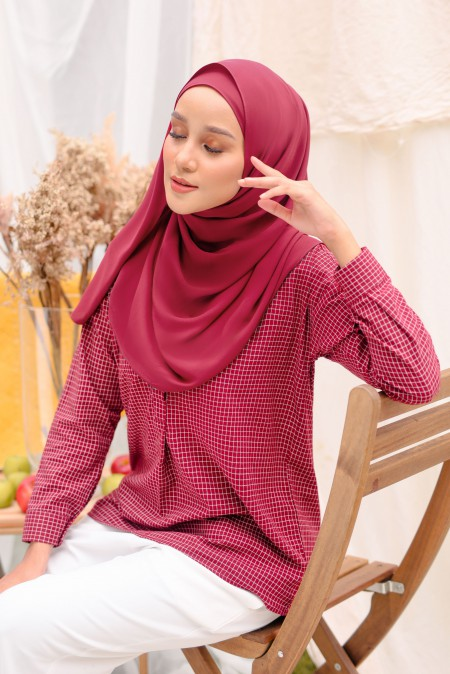 Kotak Blouse In Burgundy