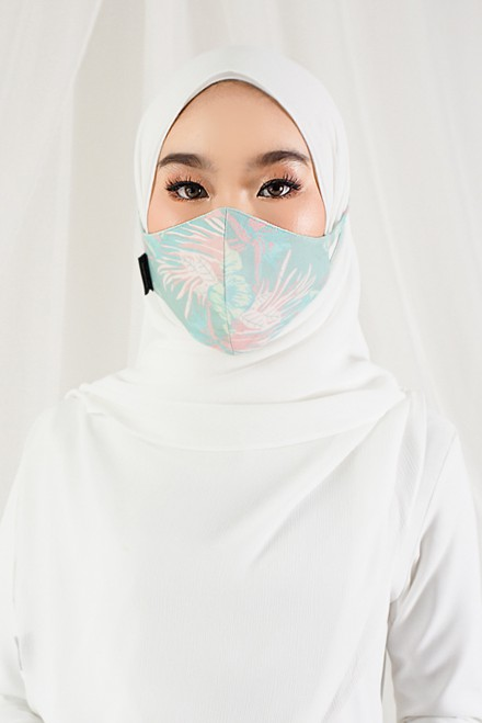Sara Printed Face Mask In Greenish
