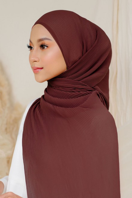 Naeka Full Pleated Shawl in Rosewood