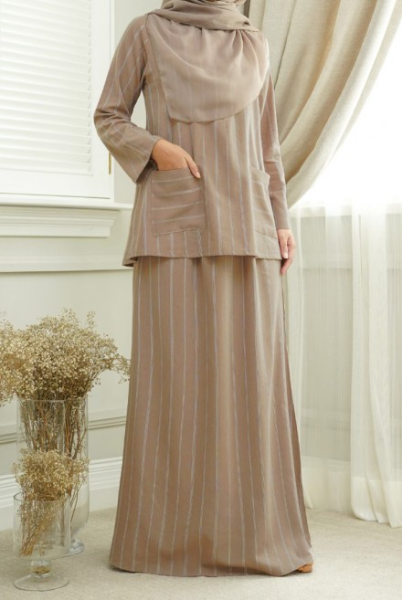 Teja Kurung in Brown