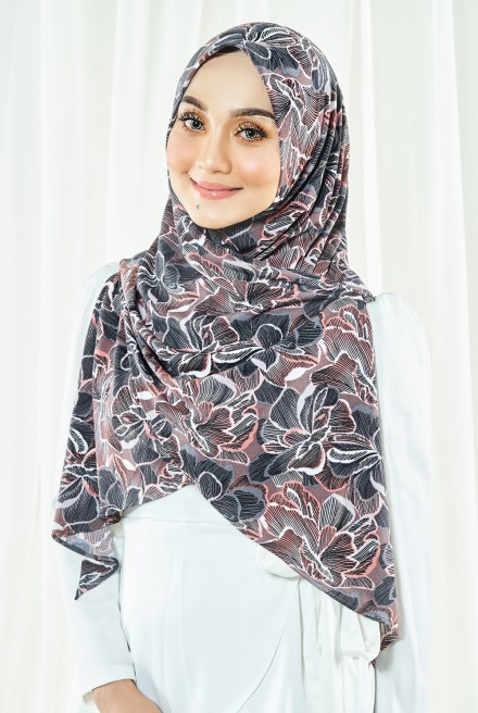 Luna Printed Bawal in Brown Flower