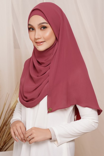 Sadia Long Shawl in Dusty Red