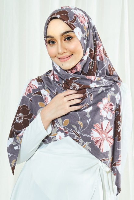 Luna Printed Bawal in Dusty Purple