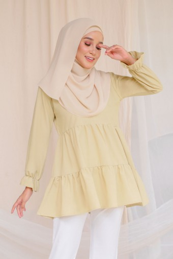 Reva Cotton Blouse In Lime