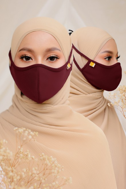 Airy Face Mask in Maroon (2 pack)