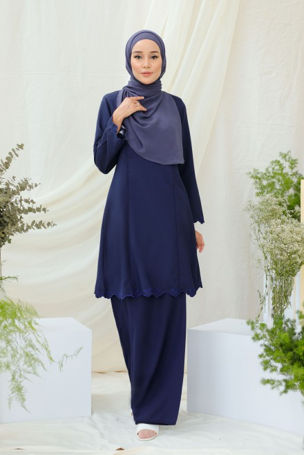 Widuri Kurung In Navy Blue
