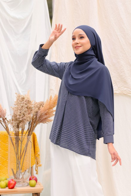 Kotak Blouse In Navy Blue