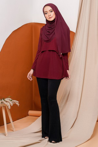 Raisa Royale Blouse in Maroon